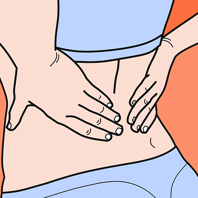 Cartoon image of woman holding her back